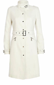 River Island White High Neck City Coat $180
