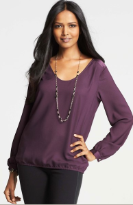 Ann Taylor Georgette Bubble Hem Blouse $79