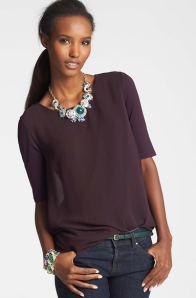 Ann Taylor Sheer Tulip Back Top $49