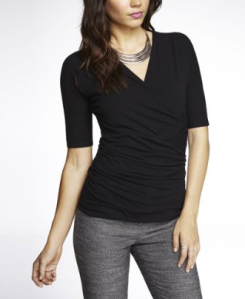 Express Elbow Sleeve Wrap Top $34.90