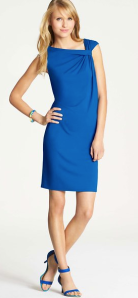 Ann Taylor Twist Shoulder Jersey Shift Dress $79.99
